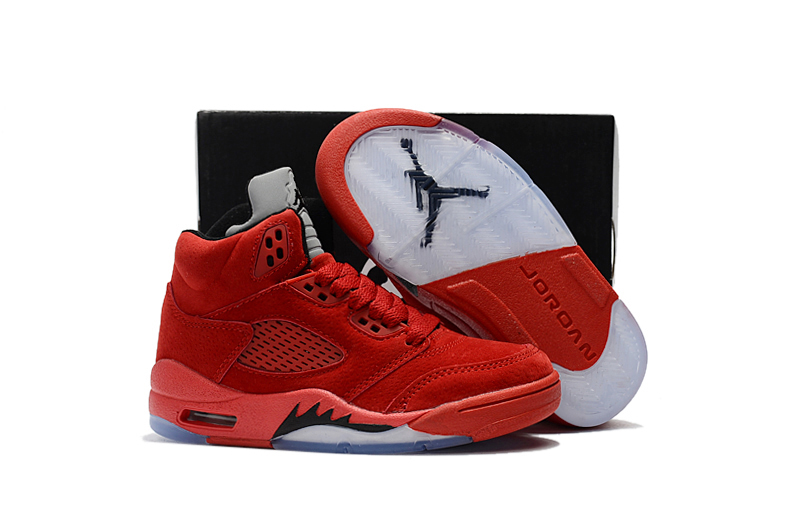 on sale 04cd4 f1dc1 Nike Air Jordan V 5 Retro Kid Children Basketball Shoes Red All ...