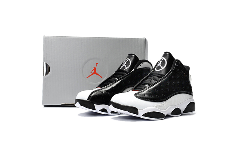 f7ecf3b09e76 Nike Air Jordan 13 Kids Shoes Black White Hot 888165-012 - Febbuy