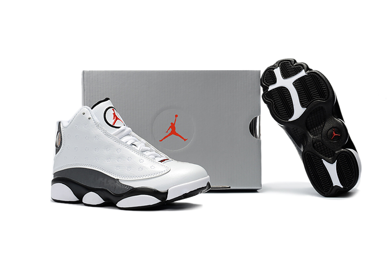 4343269eb4a0 Nike Air Jordan 13 Kids Shoes White Black Grey Special - Febbuy
