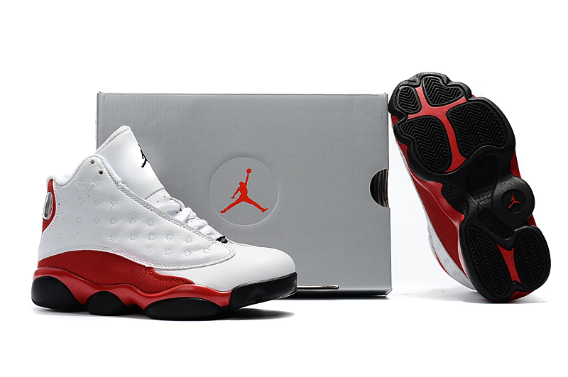4e9d40608f9d Nike Air Jordan 13 Kids Shoes White Black Red Special - Febbuy