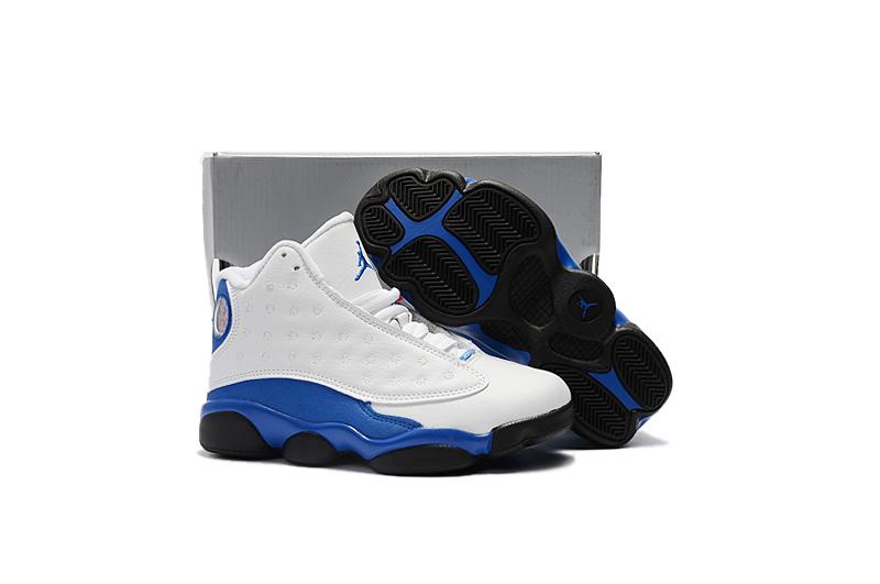 Nike Air Jordan 13 Kids Shoes White Blue Black Febbuy