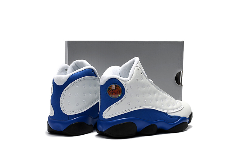 5cef9db8195b Nike Air Jordan 13 Kids Shoes White Blue Black - Febbuy