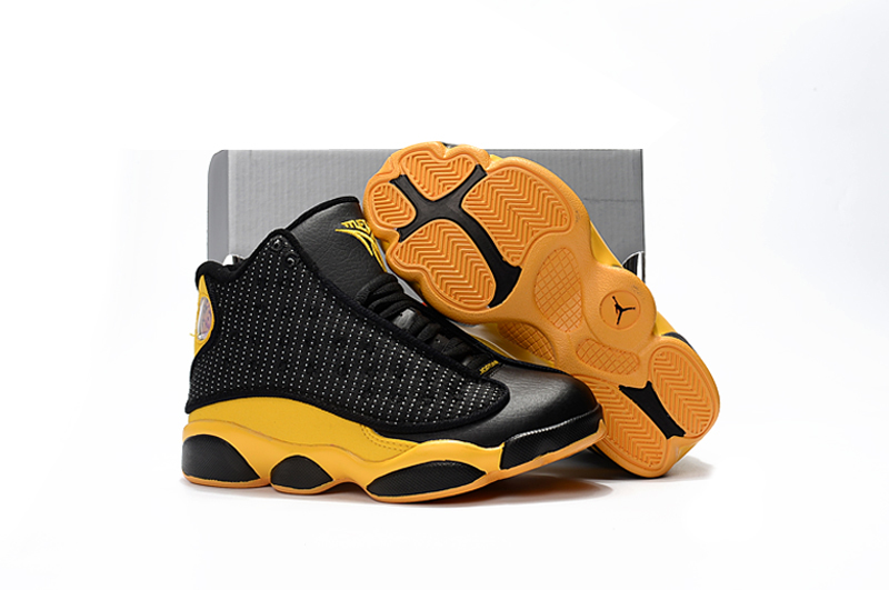 b04e376a5ec0 Nike Air Jordan XIII 13 Retro Kid Children Shoes Hot Black Yellow ...