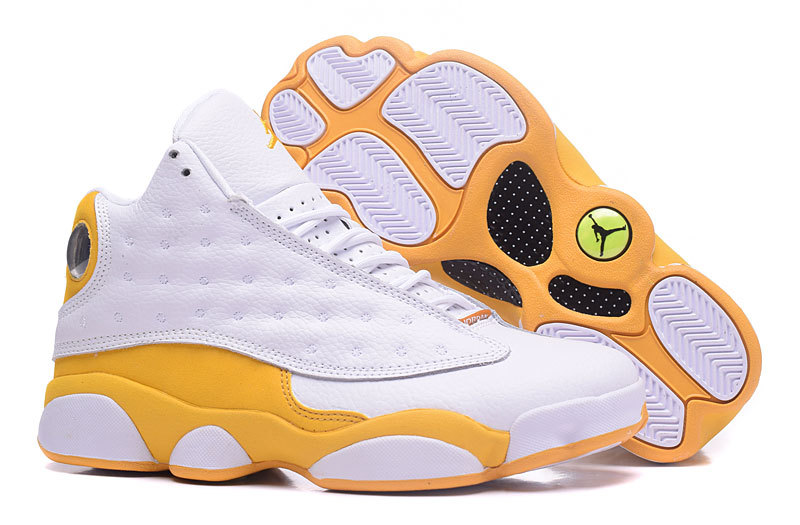 best sneakers 5055f 6fa68 Nike Air Jordan XIII 13 Retro White Yellow Brown Men Shoes 414571