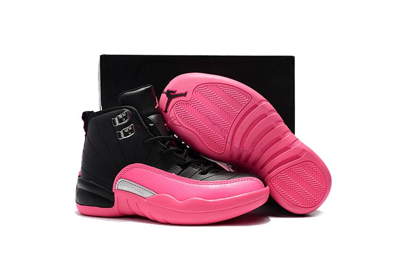 6f879e2cab08 Nike Air Jordan 12 Kids Shoes Black Pink New 510815-026 - Febbuy