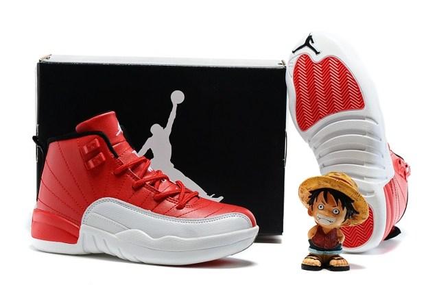 d728601a17cf45 Nike Air Jordan 12 Retro Cherry White Kid Shoes 153265 110 New - Febbuy