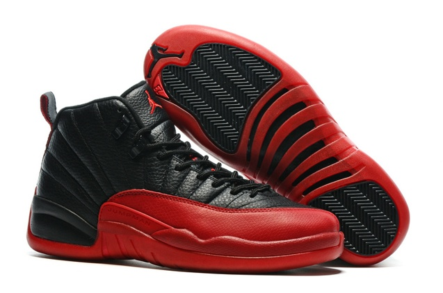 5183db5fa2bcb4 Nike Air Jordan 12 Retro Flu Game Black Varsity Red Men Shoes 130690 ...