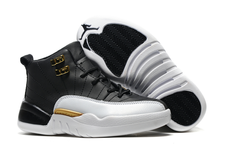 low priced 2880e 0407f Prev Nike Air Jordan XII 12 Kid Children Shoes Black White Gold. Zoom