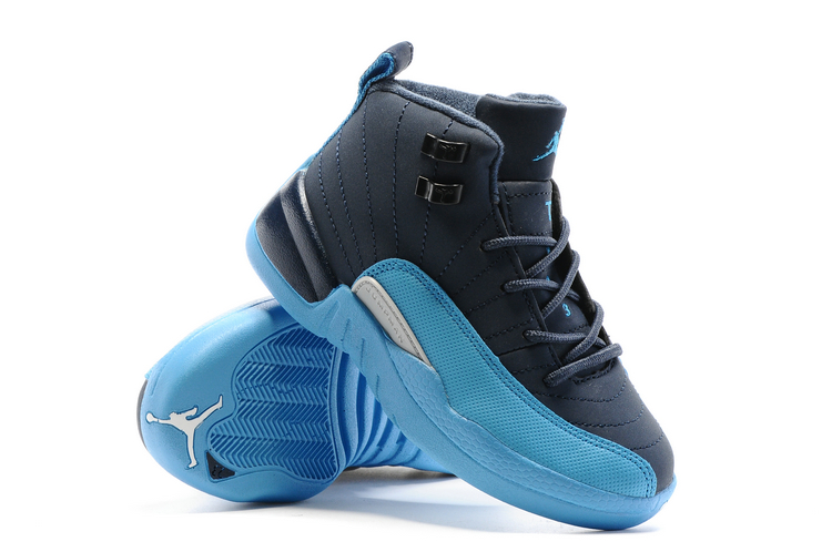 nike air jordan xii 12 kid children shoes royal blue sky