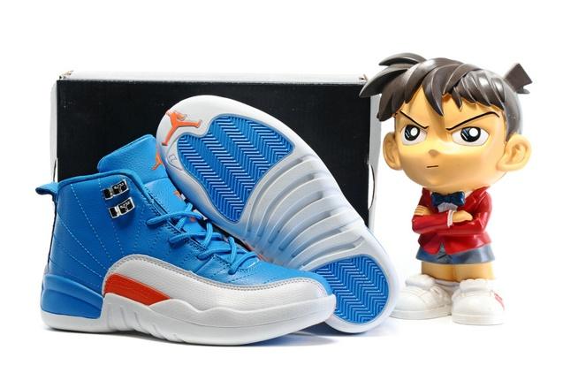 7185b241fc97 Nike Air Jordan XII 12 Retro Kids Children Shoes Royal Blue White ...