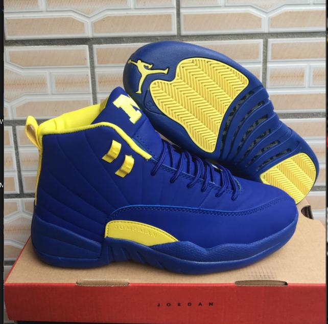 045a121ceeacba Nike Air Jordan XII 12 Retro Men Basketball Shoes Royal Blue Yellow ...
