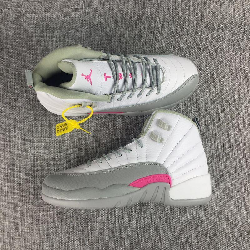 sale retailer 1e8e6 edf25 Prev Nike Air Jordan Retro XII 12 White Wolf Grey Cool Vivid Pink Women  Shoes