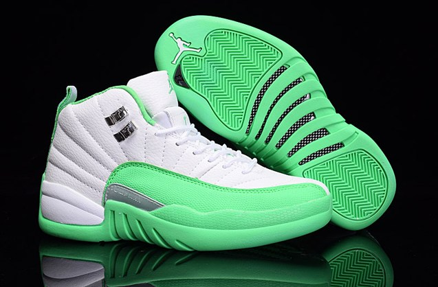 0c616cbd2a9 Prev Nike Air Jordan XII 12 Retro White Silver Green Women Shoes 510815  111. Zoom