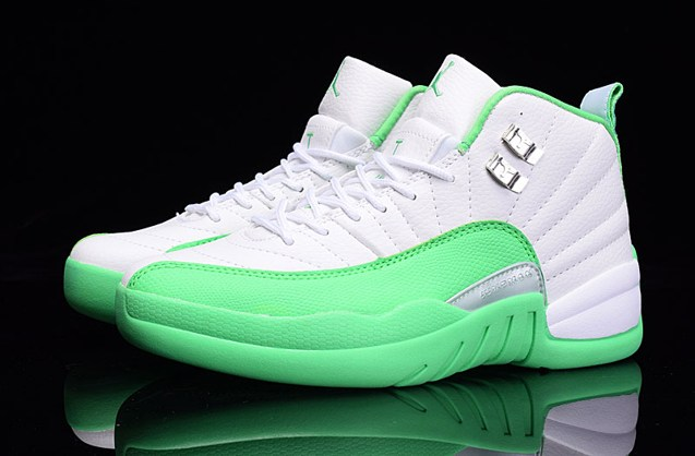 49e6c444b ... Nike Air Jordan XII 12 Retro White Silver Green Women Shoes 510815 111  ...