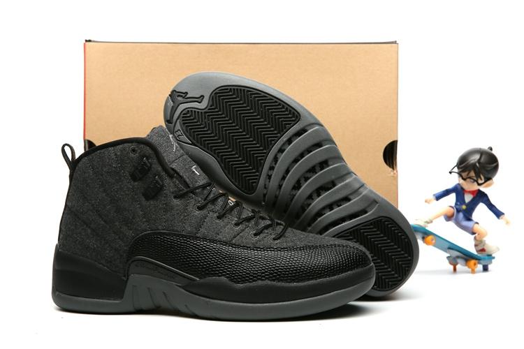 51ad0e46605 Nike Air Jordan 12 XII Retro Black Grey Wool Men Basketball Shoes 852627-003