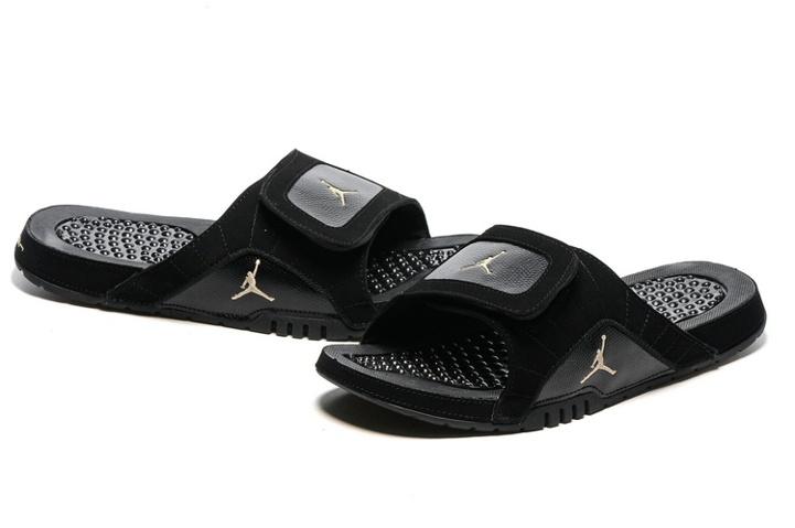 5c886fdb766cb7 Nike Jordan Hydro XII Retro Men Sandals Slides Black Gold 820265-012 ...
