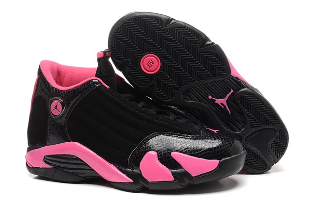1a2ecffad6d51e Nike Air Jordan Retro 14 XIV Black Pink Girl Youth Women BG GS Shoes ...