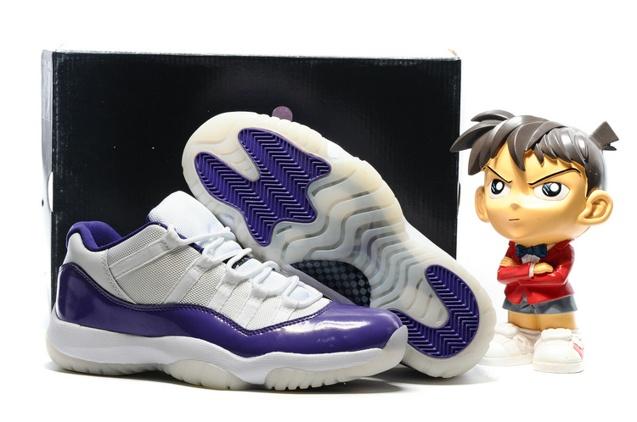 66eb0fa0f8c1 Nike Air Jordan Retro 11 XI Low Black White Purple Men Shoes 528895 ...