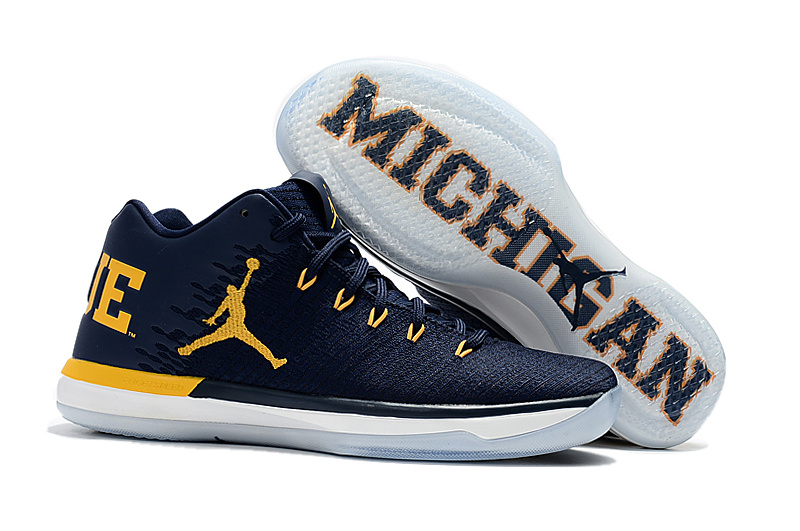 size 40 22777 23af4 NIKE AIR JORDAN XXXI LOW Michigan deep Blue yellow MEN BASKETBALL SHOES