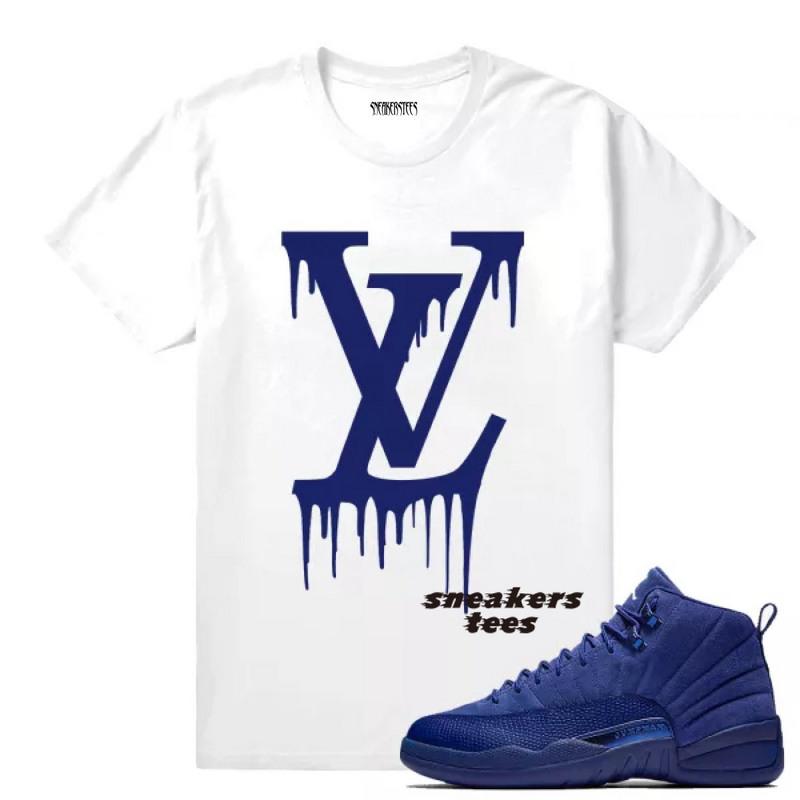 5144caabb80 Match Jordan 12 Blue Suede LV Drip White T-shirt - Febbuy