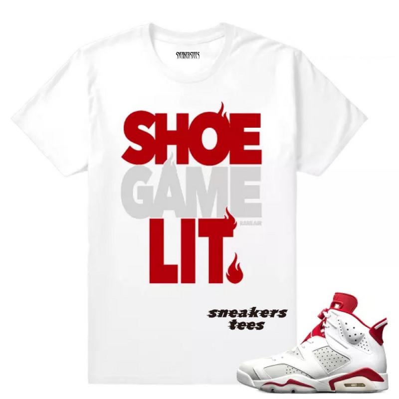 09e485b2f5c0 Match Jordan 6 Alternate Shoe Game Lit White T-shirt - Febbuy