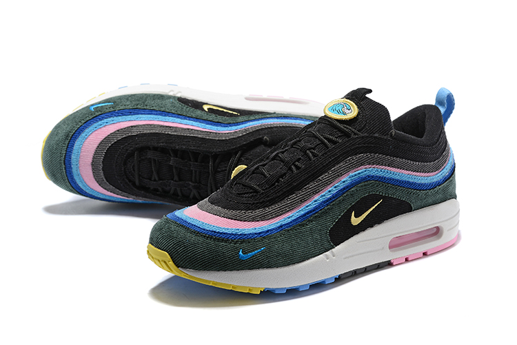 768b5bf3e6f Nike Air Max 97 Max 1 Sean Wotherspoon Unisex Running Shoes Deep Green Pink