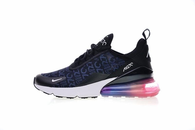 Prev Nike Air Max 270 Black Blue Logo White Pink Multi Color AH8050-028 082d3c3b4