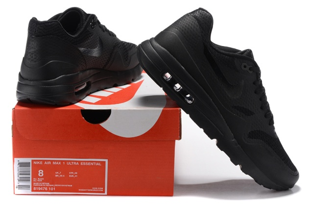 super popular 286d9 74faa Prev Nike Air Max 1 Ultra Essential Triple Black Men Women Running Shoes  819476-001 P. Zoom. Move your mouse over image or click to enlarge