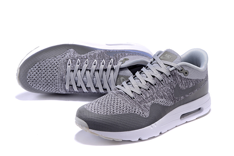 best service 5e9fd 48bd3 ... Nike Air Max 1 Ultra Flyknit Men Shoes Wolf Grey Dark Grey White  843384-001 ...
