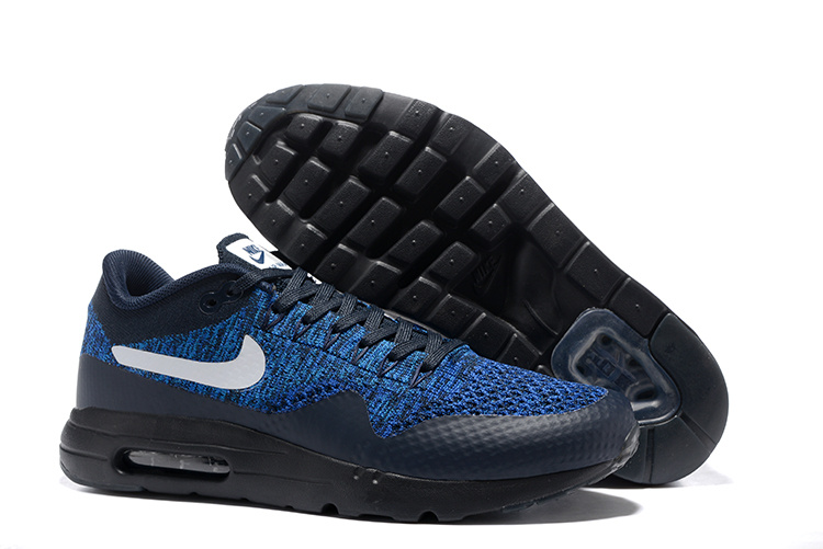 chaussures de sport cac61 0e040 Nike Air Max 1 Ultra Flyknit USA Obsidian Olympic Navy Black Men Running  Shoes Sneakers 843384-401