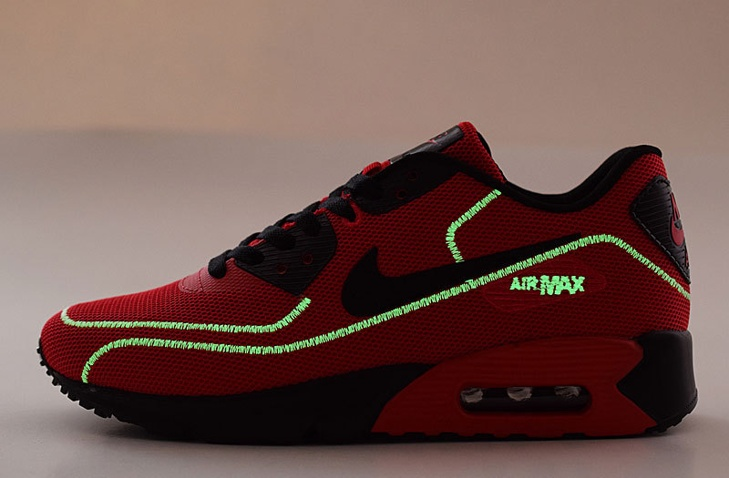 premium selection c7efc 7d9a9 Nike Air Max 90 Fireflies Glow Men Running Shoes BR Red Black 819474-003 ...
