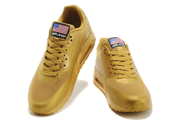 Nike Air Max 90 Hyperfuse QS Sport USA All Metallic Gold July 4TH Independence Day 613841 999