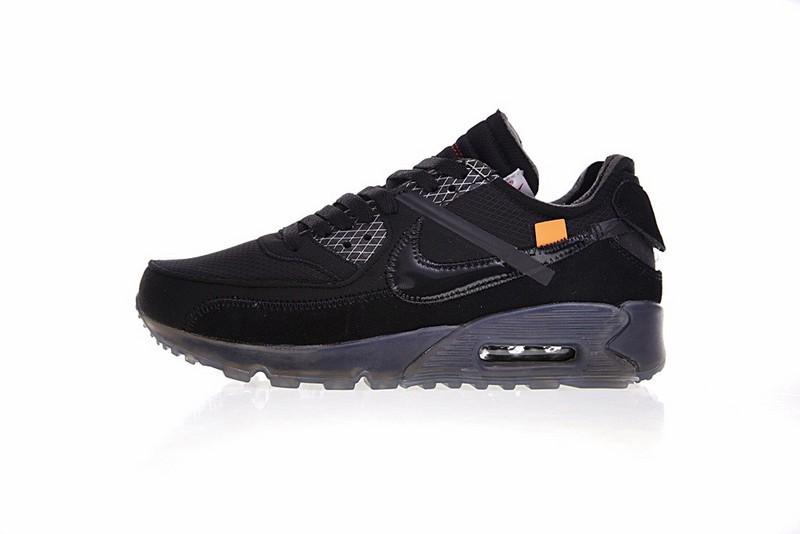 sports shoes cef95 93b27 Prev OFF White x Nike Air Max 90 Black Air Cushion Running Shoes AA7293-002