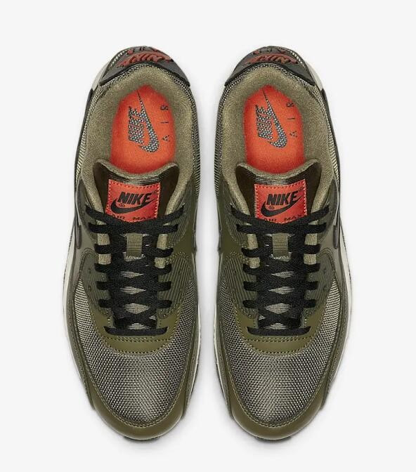 2b4cb8b938 ... Nike Air Max 90 Essential Medium Olive Team Orange Cargo Khaki Black  AJ1285-205 ...