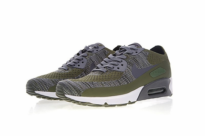 5b71b4dcb785 Nike Air Max 90 Ultra 2 Flyknit Rough Green Dark Grey White 875943 ...
