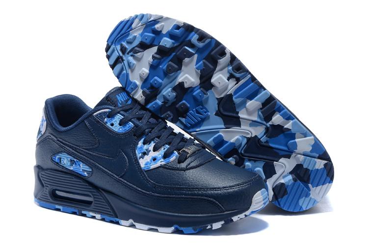 Nike Air Max 90 QS Men Running Shoes Dark Blue Royal Blue Jade 813150 107