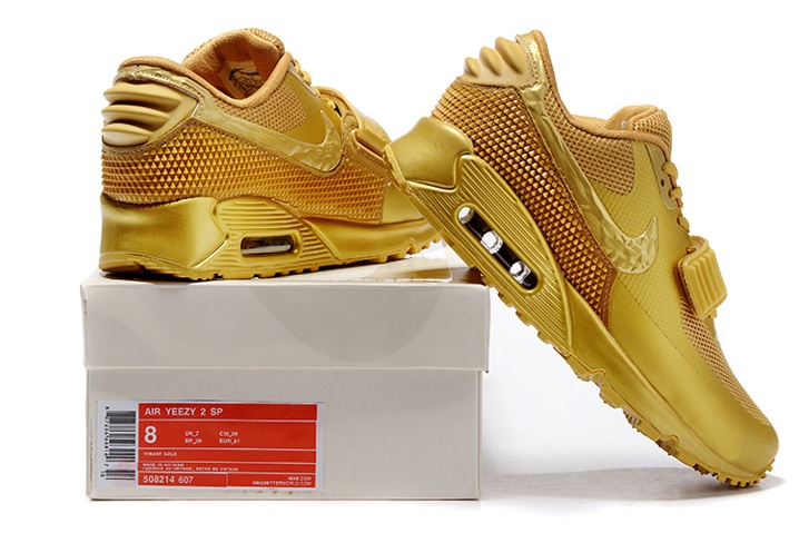6d88a62cad7b87 Nike Air Max 90 Air Yeezy 2 SP Casual Shoes Lifestyle Sneakers Metallic  Gold 508214-