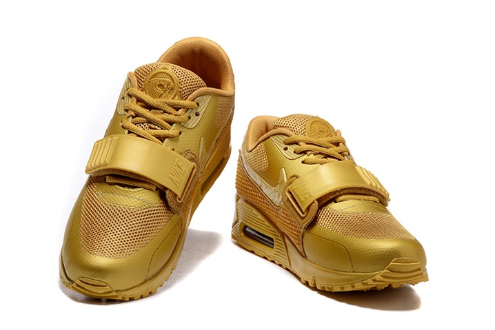 7e5c0100fc77e ... Nike Air Max 90 Air Yeezy 2 SP Casual Shoes Lifestyle Sneakers Metallic  Gold 508214- ...