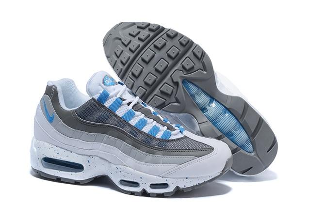 newest 9e8d0 a0ca6 Nike Air Max 95 White Hyper Cobalt Blue Men Running Shoes 609048-108
