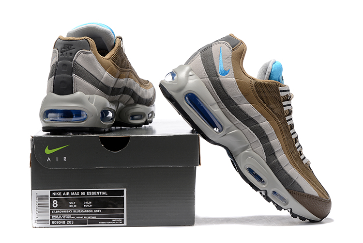 659c0c9f3d7b39 ... Nike Air Max 95 Wolf Grey Brown Blue Men Running Shoes Sneakers  Trainers 749766-203 ...