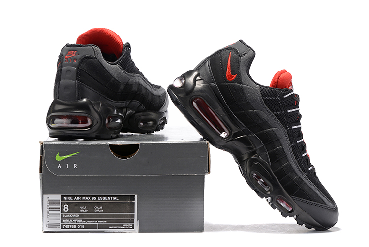 new style 79633 bff3a ... Nike Air Max 95 Essential Black Challenge Red Men Shoes 749766-016 ...
