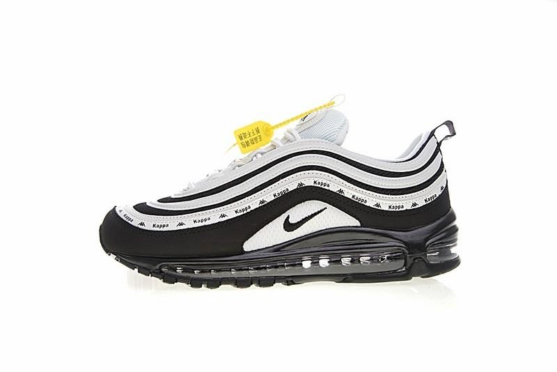 70852bb61ac Kappa x Nike Air Max 97 OG Black White Casual Sneakers AJ1986-101 ...