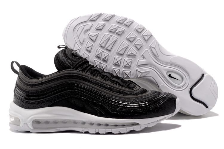932e7cdeaf890 Nike Air Max 97 Unisex Runnging Shoes Black White 921826-001 - Febbuy