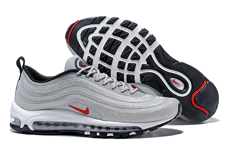 a7a3bfdc22 Nike Air Max 97 Men Running Shoes Sneakers Swarovski Gray Red - Febbuy
