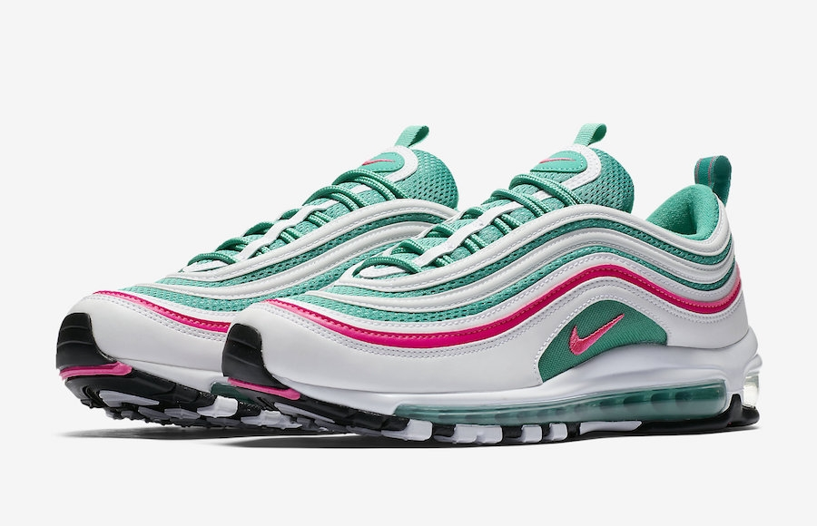 06bd667220a4 Prev Nike Air Max 97 South Beach White Pink Blast Kinetic Green Black 921826-102.  Zoom. Move your mouse over image or click to enlarge