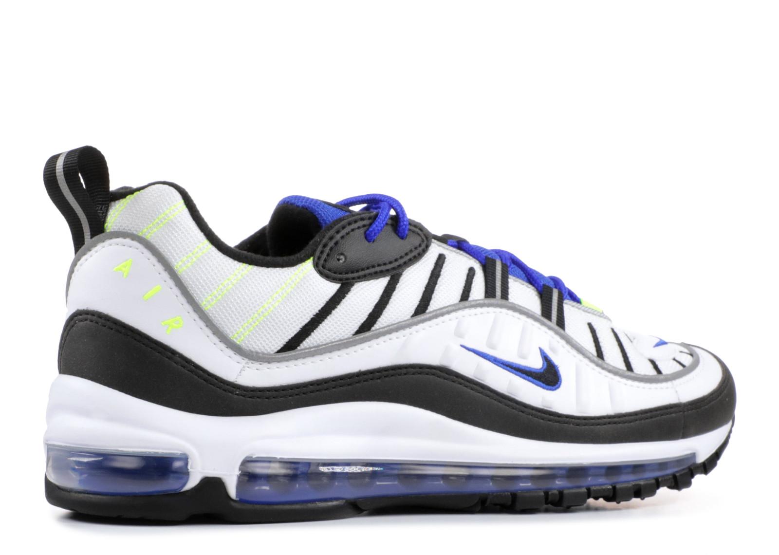 Top Quality Nike Air Max 98 OG White Black Racer Blue Volt Men's Running Shoes 640744 103