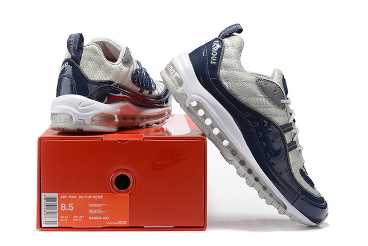 brand new 26593 a13f1 ... Nike Air Max 98 Supreme Men Shoes Obsidian Reflective Silver White  844694-400 ...