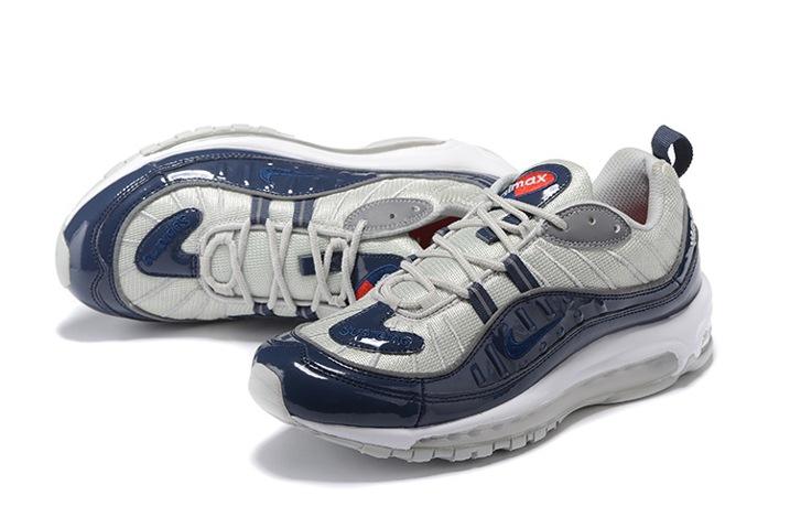 Nike Air Max 98 Supreme Men Shoes Obsidian Reflective Silver White 844694 -400 2c8ce1e0e