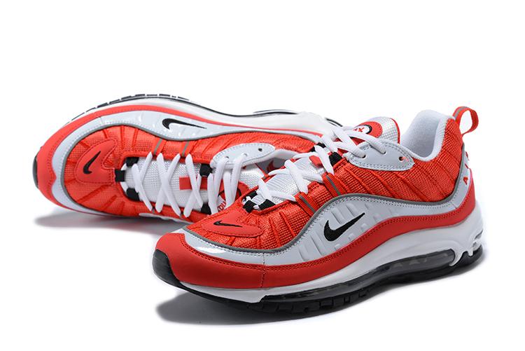 Nike Air Max 98 University Red White Red Men Sneakers Rare 640744 ... 997b27c65