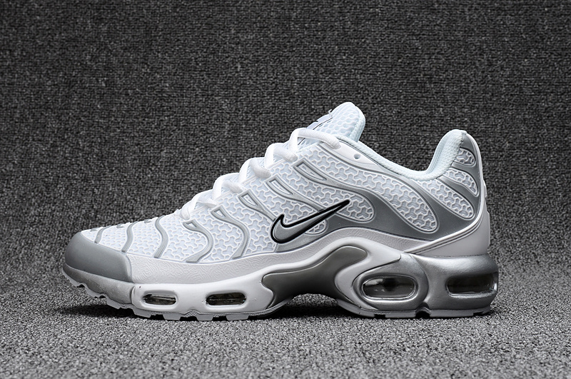 5ee60ddd8574 Nike Air Max Plus TN KPU white gray Men Sneakers Running Shoes 604133-010  ...